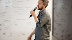 A coworking space should be in perpetual beta, constantly changing to reflect its members. These ideas were drawn from TILT studio's workshop during Coworking Europe 2011. Pictured here is TILT's Oliver Marlow (Image: Stefano Borghi).